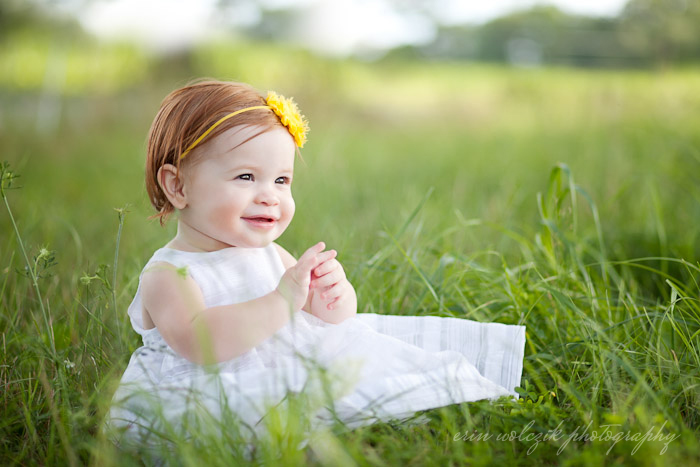 baby in a white dress . one-year-old photographer ~ westborough, ma